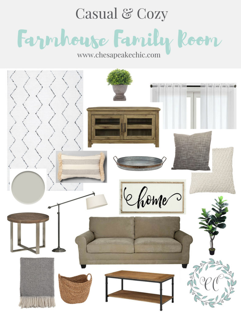 Cozy Casual Decorating Style: A Casual & Cozy Farmhouse Family Room